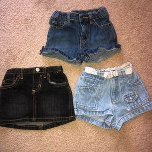 Jean skirt and two jean shorts 18-24 months